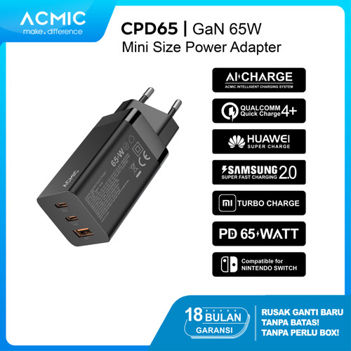 Foto Produk ACMIC CPD65 GaN 65W Super Fast Charging 65 W Charger PD Power Adapter - CPD65 Only dari ACMIC Official Store