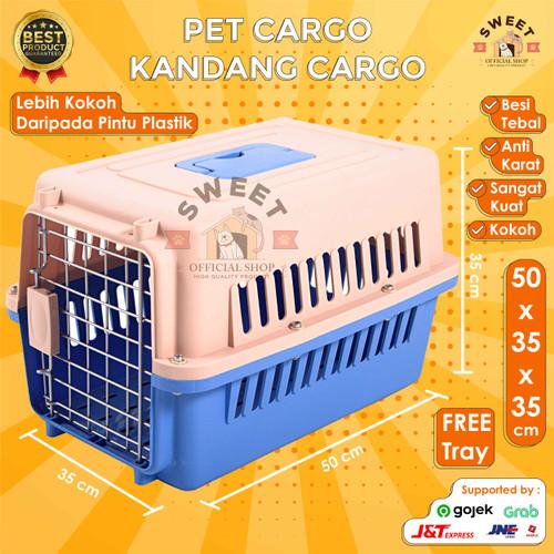 Foto Produk Pet Cargo / Pet Carrier BONUS Tray - Kandang (Cargo) Original 50x35x35 - Pink dari SWEET OFFICIAL SHOP