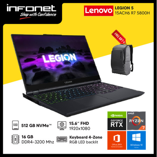 Foto Produk LENOVO LEGION 5 15ACH6 R7 5800H 16GB 512GB RTX 3050Ti 15.6 FHD W10 OHS - PHANTOM BLUE dari Infonet Official Store