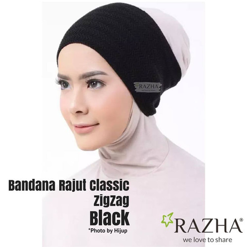 Foto Produk ciput rajut zigzag by razha bandana rajut inner hijab - black dari hanbie shop