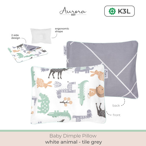 Foto Produk Aurora Baby-Bantal Peyang (Peang) Bayi - Greywhte Animal dari Gisnicbaby Official
