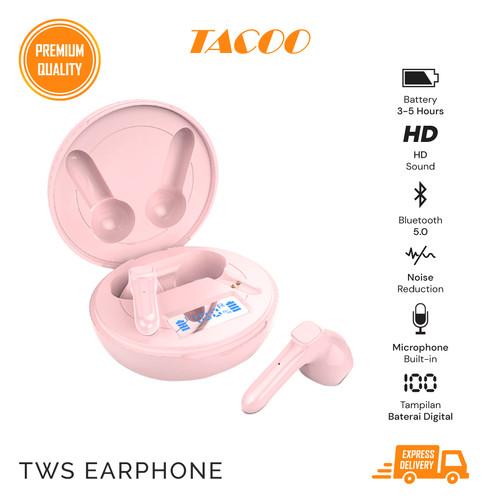 Foto Produk TACOO TWS Earphone TEH0431 Bluetooth 5.0 Deep Bass Noise Reduction - Merah Muda dari TACOO Official Store