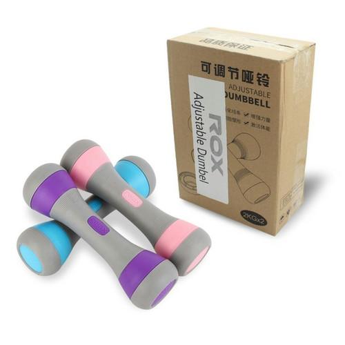 Foto Produk Dumbell Dumble Barbel 2kg Satu Set (isi-2) ADJUSTABLE ROX dari BinaragaNet