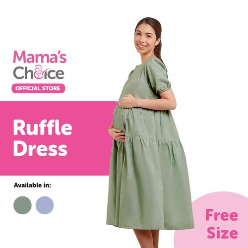 Foto Produk Mama's Choice Ruffle Dress - Terusan Ibu Hamil Menyusui Kasual - Hijau dari MamasChoiceID