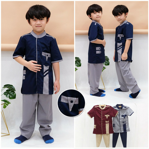 Foto Produk Setelan Koko anak Fatih 2 - 12 tahun - baju koko anak laki laki - maroon, XS dari bintang makmur88