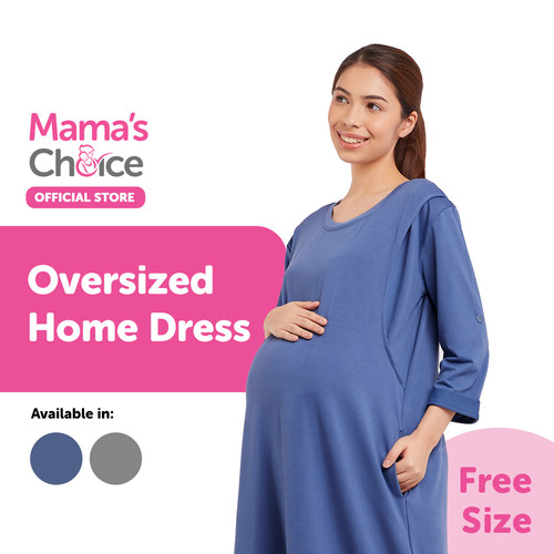 Foto Produk Mama's Choice Oversized Home Dress - Daster Hamil Menyusui Nyaman - Biru dari MamasChoiceID