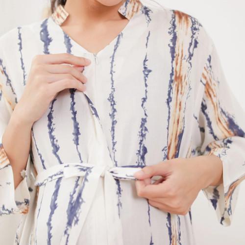 Foto Produk Shaina Dress Stripes-TUNIK MUSLIM JUMBO DRESS WANITA BUMIL BUSUI RAYON - Stripes dari Peony & Rose