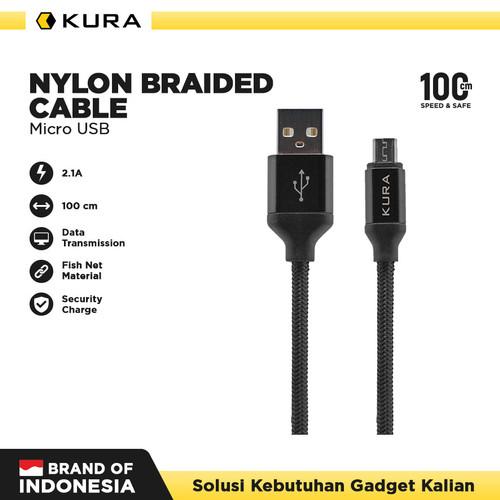 Foto Produk KURA Nylon Braided Cable - Kabel Data Micro USB - Hitam dari KURA Elektronik