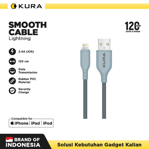 Foto Produk KURA Smooth Cable - Kabel Data Lightning 3A - Abu-abu Muda dari KURA Elektronik