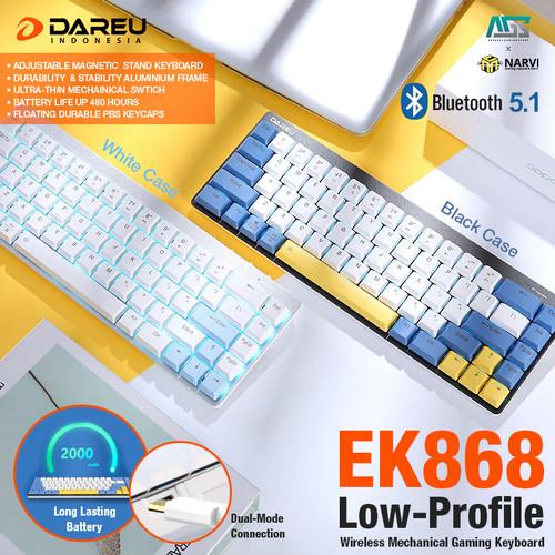Foto Produk Dareu EK868 Low-Profile Bluetooth Mechanical - Gaming Keyboard - WHITE CASE, RED SWITCH dari Apparel Gaming