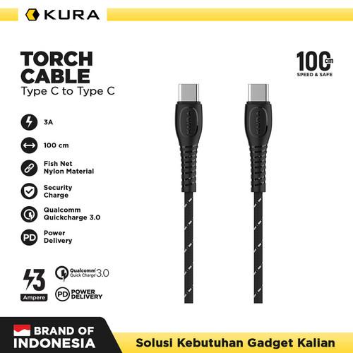 Foto Produk KURA Torch Cable - Kabel Data Type C to Type C 3A - Kuning dari KURA Elektronik
