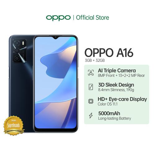 Foto Produk OPPO A16 Smartphone 3GB/32GB (Garansi Resmi) - Hitam dari OPPO OFFICIAL STORE