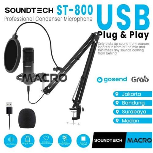 Foto Produk SOUNDTECH Microphone Condenser For Recording Streaming Podcast - GUNTING dari MACRO