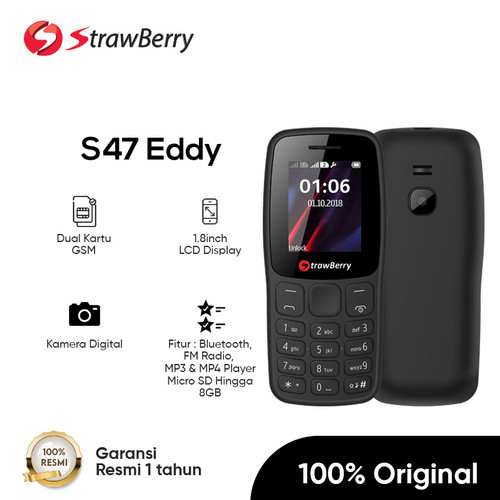 Foto Produk Strawberry - S47 EDDY / Handphone Candybar Dual SIM Card / HP Kamera M - Hitam dari Strawberry Official