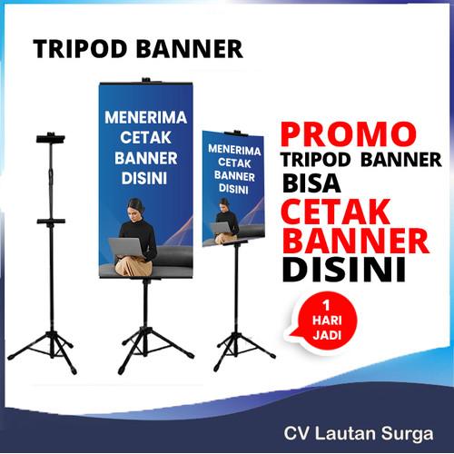 Foto Produk Tripod Banner Stand 2 Sisi - Hitam dari Bawang Goreng Nion Nion