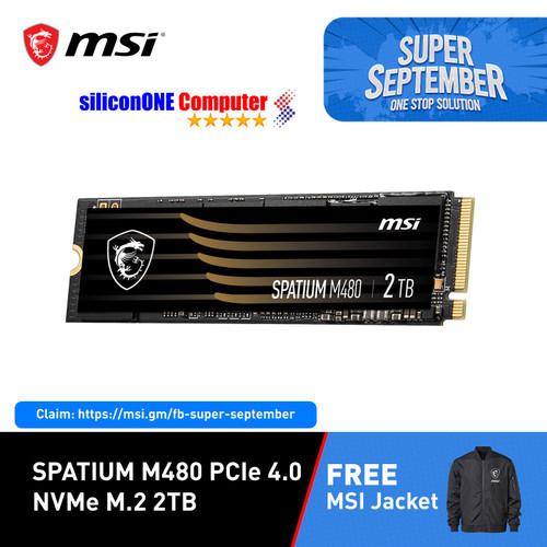 Foto Produk MSI SSD SPATIUM M480 2TB NVME Gen4 PCIE4.0 Speed 7000/6800 dari silicon ONE Computer