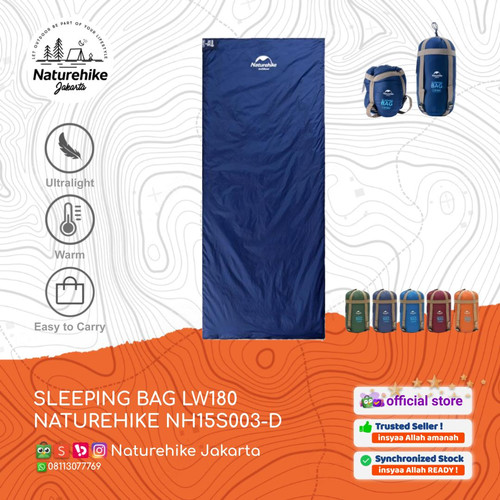 Foto Produk NATUREHIKE SLEEPING BAG LW180 NH15S003-D KANTONG TIDUR POLYESTER - Biru Muda dari Naturehike Jakarta