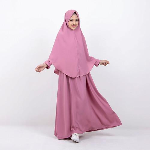 Foto Produk Bajuyuli - Baju Muslim Anak Perempuan Gamis Syar'i Polos Pink WSDP01 dari Bajuyuli