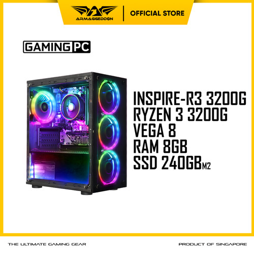 Foto Produk Armaggeddon PC Gaming INSPIRE-R3 AMD RYZEN 3 - ATHLON 3000G, SABER RAM 2x4GB dari Armaggeddon Official
