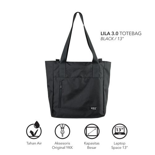"""Foto Produk KEE Lila 3.0 Totebag Tas Tote Bag fit Laptop 13 inch 15 inch Black - ToteBag fit 13"""" dari KEE INDONESIA"""