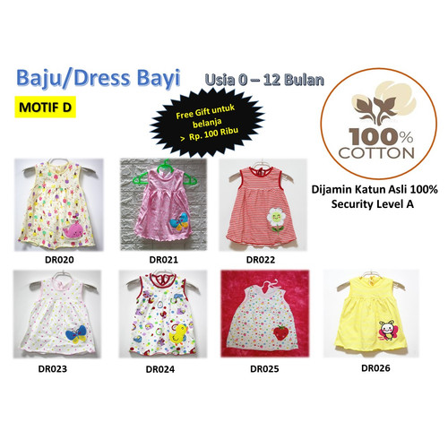 Foto Produk Baju/Dress bayi Perempuan 0-6 Bulan Katun 100% Import Motif D dari Istiyati collection