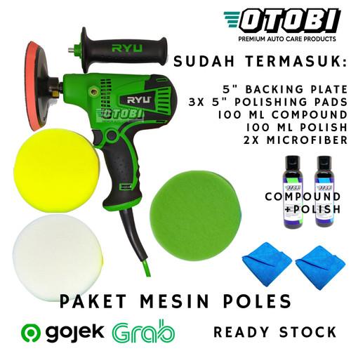 """Foto Produk Paket HEMAT Mesin Poles Rotary 5"""" RYU RGP 125E u/ Cat Mobil & Motor dari Otobi"""