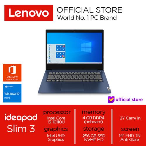 Foto Produk Lenovo IdeaPad Slim 3 14IML05 Core i3-10110U 4GB 256SSD W10 OHS - Abbys Blue, 4 gb dari Lenovo Official