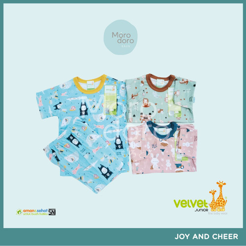 Foto Produk Velvet Junior Setelan Oblong Pendek S/M/L/XL/XXL (3 STEL) - GEMS in the SKY, S dari Morodoro Baby Shop
