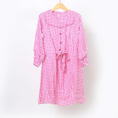 Foto Produk pakaian fashion dress tunik anak perempuan motif kotak murah 6-11 thn - pink, Uk 4, 3-4thn dari Remi Premium