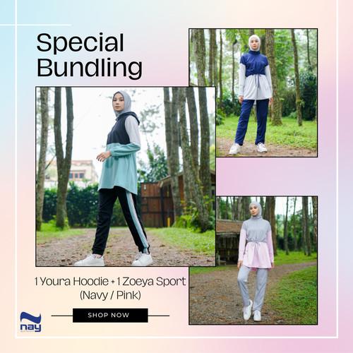 Foto Produk Paket Bundling Setelan Olahraga Youra Hoodie Candy Green & Zoeya Sport - S dari Nay Sportswear