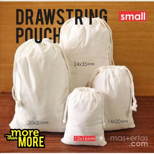Foto Produk tas serut kecil, tas serut polos murah, ready stok, tas serut blacu - 12x16 cm dari Dokterkaos.Net