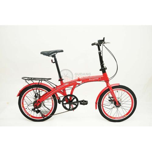 Foto Produk Sepeda Lipat Evergreen 20 Import double discbrake termurah 7 speed NEW - Merah dari GUDANG SEPEDA OFFICIAL