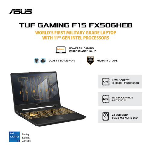 Foto Produk ASUS TUF F15 FX506HEB-I7R5B6G-O   i7-11800H/RTX3050Ti/16GB/512GB/W10 dari MediaTouch Compushop