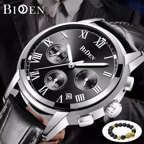 Foto Produk BIDEN jam tangan pria Tali kulit Tampilan Tanggal Chronograph bisnis - Hitam dari BIDEN Official Store