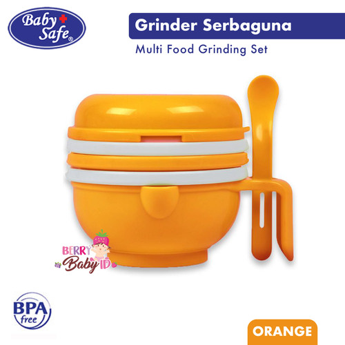 Foto Produk Baby Safe Multi Food Grinding Set Grinder Pengolah Makanan Bayi AP014 - Orange dari Berry Baby