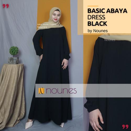 Foto Produk NOUNES BASIC ABAYA DRESS Gamis Home Daily Polos Syari Saku kanan - BLACK, M dari nounes