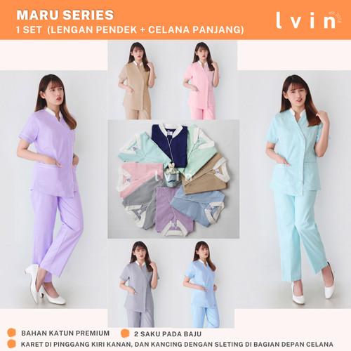 Foto Produk Baju Suster /Seragam Suster / Nanny uniform/ baby sitter Maru Series - L, Biru Muda dari Lvin Official