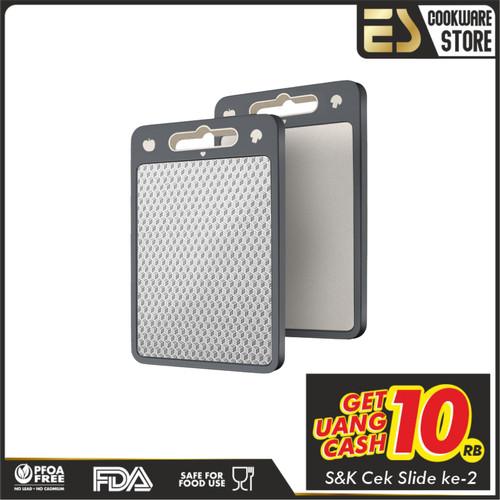 Foto Produk ES Talenan Anti Lengket Permukaan Halus Stainless Steel Talenan Masak - Varian39,5polos dari ES Cookware