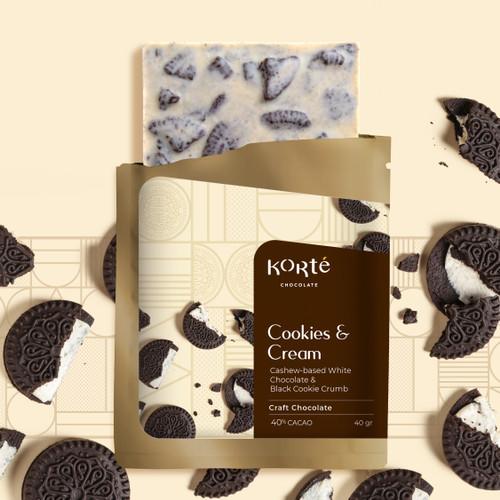 Foto Produk Korte Cookies and Cream Chocolate Bar dari Korte Chocolate
