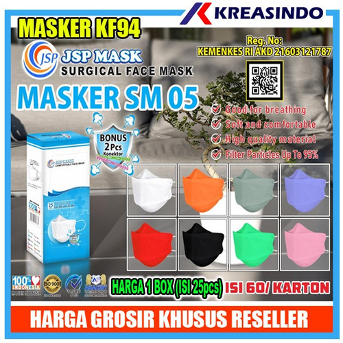 Foto Produk Masker KF94 JSP surgical mask / Medis / EVO - Putih 5pcs dari Kreasindo Online