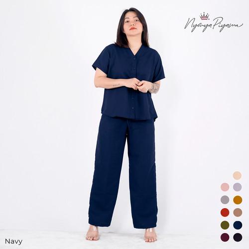 Foto Produk Polos - Cozy Pajamas Celana Panjang / Piyama Oversize Katun CP - Navy, M s.d 60KG dari nyonya piyama Official Store