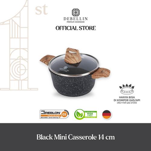 Foto Produk Debellin Black Mini Casserole 14 cm Panci Granite Anti Lengket - Mini CR14 dari Debellin Cookware