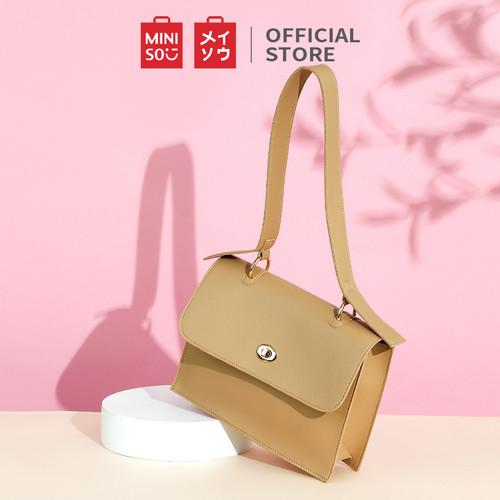 Foto Produk MINISO Tas Bahu Shoulder Bag Wanita Cewek Fashion Elegan Kulit Simple - white dari Miniso Indonesia