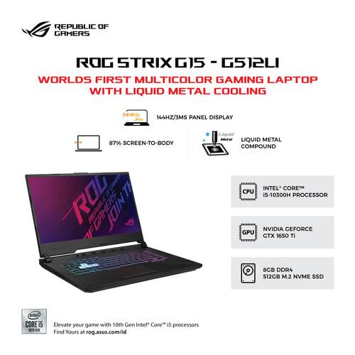 Foto Produk Asus G512LI-I565B6T-O   i5-10300H/GTX 1650Ti/8GB/512GB/W10/OHS/BLACK dari MediaTouch Compushop