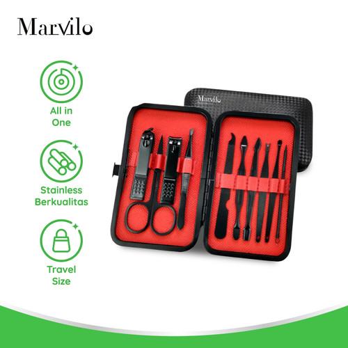 Foto Produk Marvilo Set Peralatan Menicure dan Pedicure - 10 Pcs - Hitam dari Marvilo Official Store