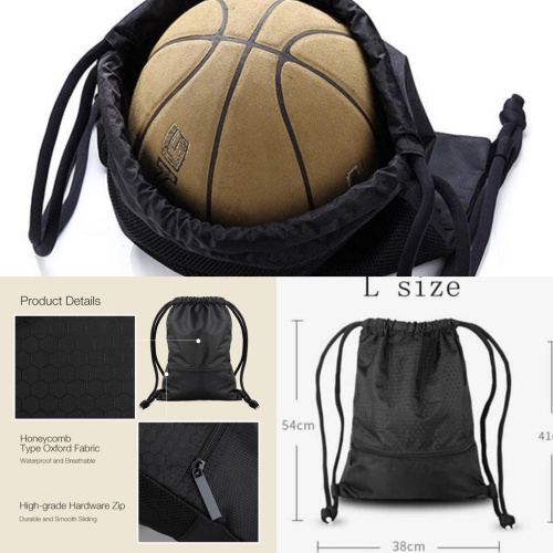Foto Produk Waterproof Travel Bag size L Drawstring Sport Gym Backpack Tas Serut - BLACK dari PANACHE