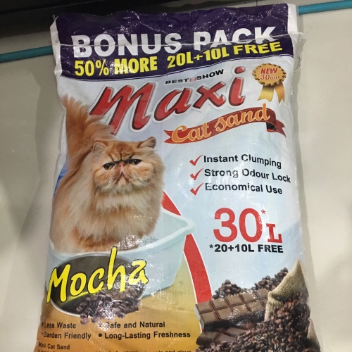 Foto Produk Pasir wangi maxi 30 liter gree 50 % pasir gumpal dari Grosiran Petshop Bekasi