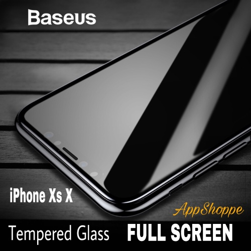 Foto Produk Baseus Tempered Glass Screen Protector FULL SCREEN COVER iPhone XS X dari AppShoppe