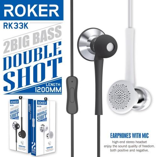 Foto Produk Handsfree ROKER DOUBLE SHOT RK33K Headset 2 Big Bass In Ear Earphones dari Agen Aksesoris Hp