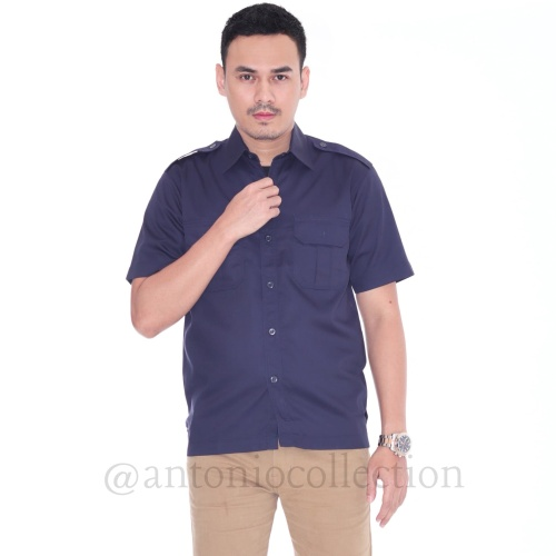 Foto Produk Kemeja Dill Biru Dongker Formal Lengan Pendek dari antoniocollection